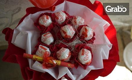 Букет или кошничка - с рози или бонбони Рафаело