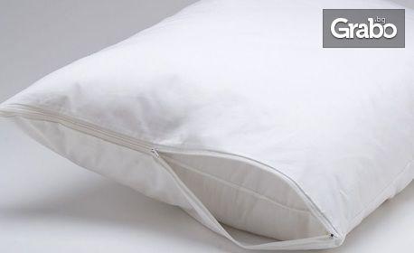 Непромокаем памучен протектор за възглавница с цип