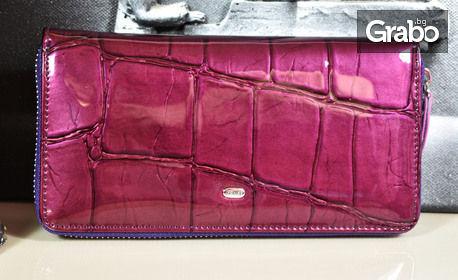Дамско портмоне от естествена кожа с лак - цвят и модел по избор