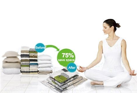 Най-добрият начин да спестите място във Вашия гардероб, дрешник или куфар за пътуване. Вакуум пликове - 3 броя на цена о