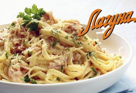 """Хапване на корем в любимия ви Виенски Салон """"Лагуна""""! Цял килограм талиатели с бекон, 2 парчета торта по избор, 2 големи"""