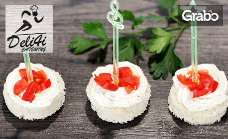 За вашето парти! 80 или 100 броя мини сандвичи - без или със 30 броя мини еклерчета с ванилов крем