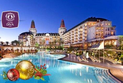 Нова година 2019 в ТУРЦИЯ, АНТАЛИЯ! Чартърен полет + 4 нощувки Ultra All Inclusive в хотел DELPHIN DIVA 5* Лара за 889 л