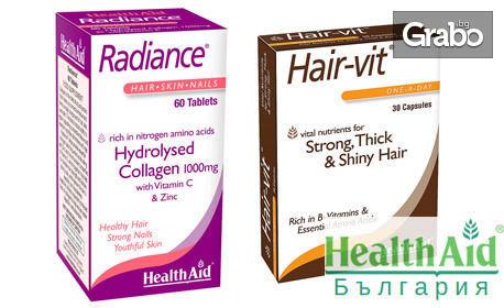 За блестяща коса и сияйна кожа! Хранителни добавки Radiance и Hair-vit на фирма HealthAid®