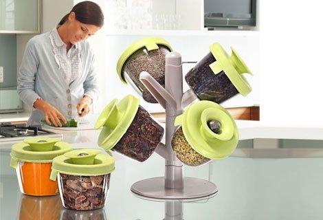 Задължителна за всяка кухня - Стилна поставка с ергономична, модерна визия - Spice Fine Life Pop-Up 6 Container Spice Ra