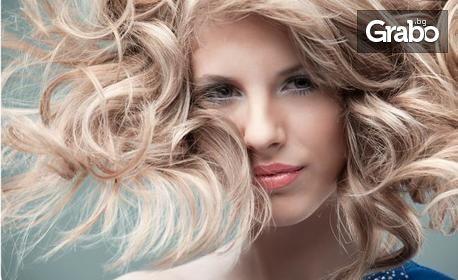 Измиване на коса с продукти на L Oréal, плюс нанасяне на ампула и оформяне на прическа със сешоар