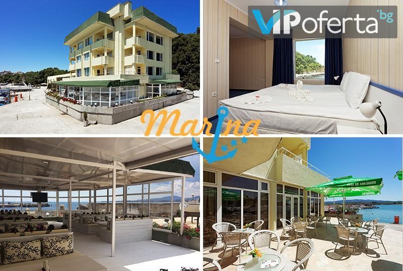 Еднодневен пакет със закуска + собствен плаж към хотела, басейн и шезлонг в Хотел Марина***, Китен