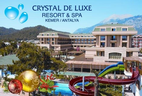 Нова година 2020 в ТУРЦИЯ, АНТАЛИЯ! Чартърен полет + 4 нощувки на база All Inclusive в хотел CRYSTAL DE LUXE RESORT&SPA 5 * за 689 лв. на Човек