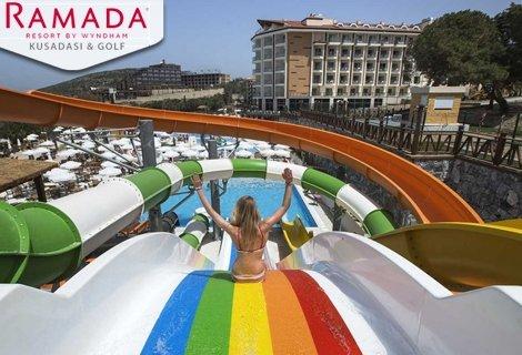 NEW Лято 2020, Кушадасъ в хотел Ramada Kusadasi Golf & SPA Resort Hotel 5* PREMIUM! Транспорт + 7 нощувки на база  ALL INCLUSIVE на цени от 489 лв. на ЧОВЕК!