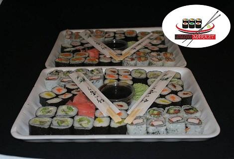 Всички обичат СУШИ! 54 суши хапки с пушена сьомга,филаделфия и херинга САМО за 28.90 лв. или 100 суши хапки с пушена сьомга,филаделфия и бяла херинга за 52.90 лв. от Sushi Market