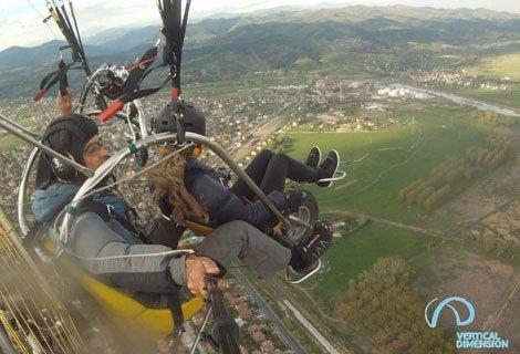 Подарете 100% АДРЕНАЛИН! Тандемен полет край София с двуместен моторен парапланер от Vertical Dimension само за 65.50 лв.